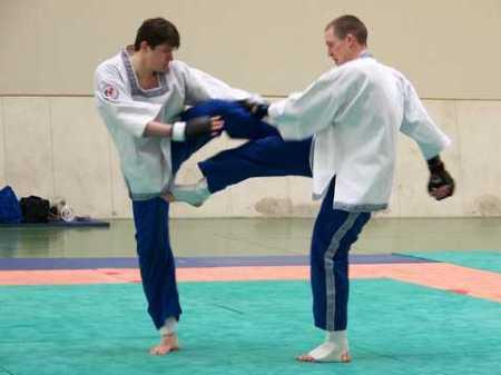 deux pangratiastes en action sur une double technique de jambes